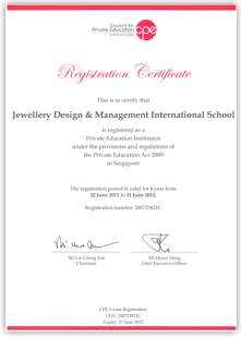 Certificate of Jewellery Design and Management International School Singapore
